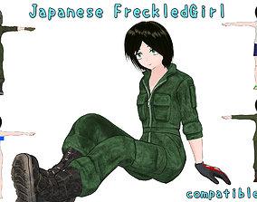 3D asset Japanese FreckledGirl