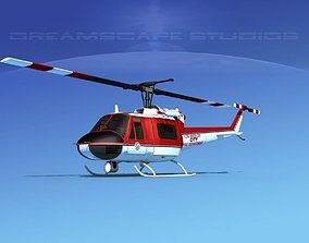 Bell 204 Los Angeles FD 3D model animated
