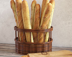 3D model Basket with Baguettes
