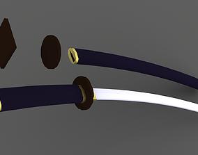 3D asset Low poly katana sword