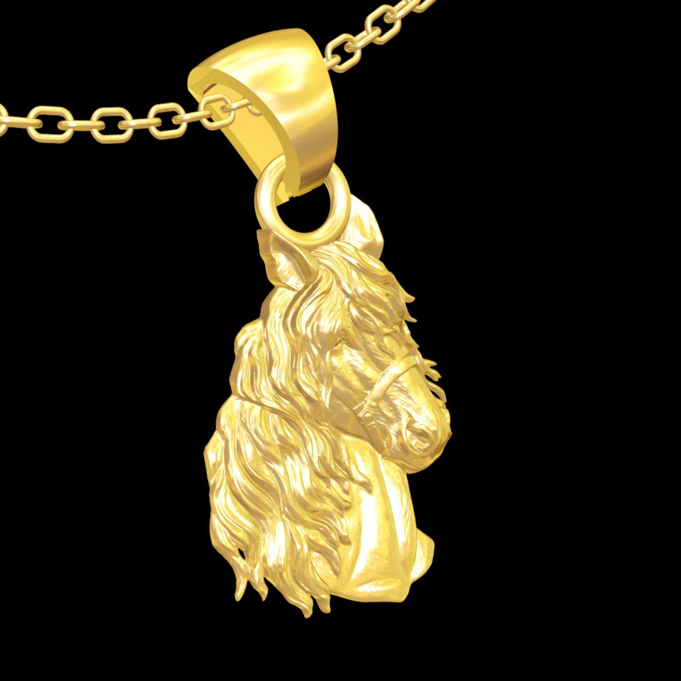 Horse Head Statue Sculpture pendant jewelry gold necklace 3D print model