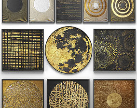 3D Collection of paintings with gold for walls 14