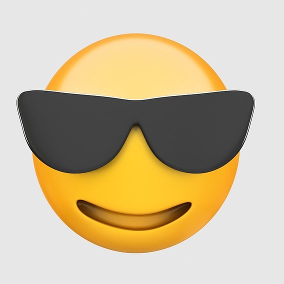 Emoji smiling face with sunglasses 3D model