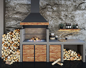 3D model Barbecue BBQ firewood firebox hood