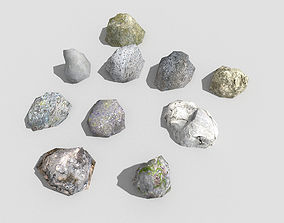 3D model low poly rocks collection 6