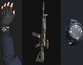 FPS Commando with Arm and Hand and Weapon and 3D asset