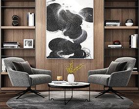 Leisure chair tea table combination Bookcase 3D model