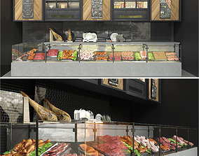 Meat Showcase and Products 3D model