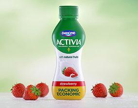 Milk Bottle and Strawberry 3D model