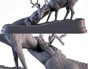 Crocodile attack Deer 3D printable model