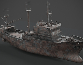 3D model PBR Old rusted abandoned vessel
