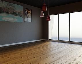 3D Modern Empty Living Room