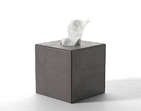 3D Leather Tissue Box Square