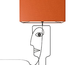 KARE Table Lamp Face Wire Orange 52451 3D