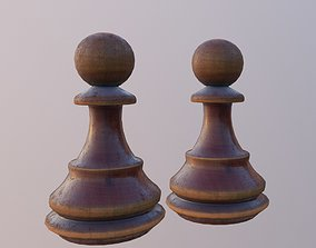 Wooden Chess Pawn 3D model