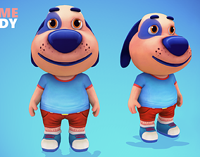 3D asset Dog Low poly Animated Rigged