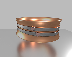 3D Two of hearts ring