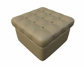 Leather pouf sofa 3D asset