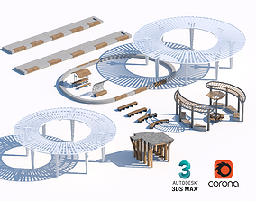 wooden and concrete sunshade and benches set 05 3D model