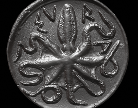 3D print model Octopus Coin-Silver Litra