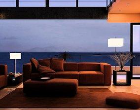Modern Brown Living Room 3D
