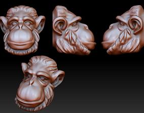 3D print model chimpanzee head pendant