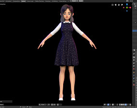 Amy Girl Stylized Character No 5 for Blender 3D model 2