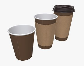 3D Recycled paper coffee cup plastic lid and sleeve