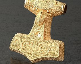 3D print model jewelry Thor hammer pendant