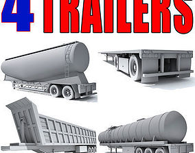 concrete 3D model Set of Truck 4 Trailers