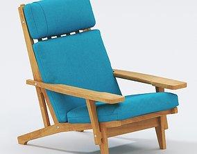 Hans Wegner GE375 Oak Lounge Chairs 3D model