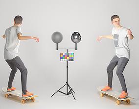 3D model Animated man riding on a skateboard 35