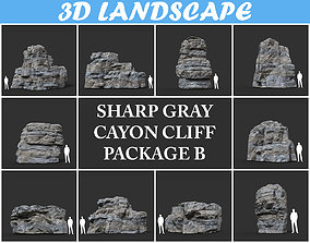 Low poly Gray Cliff Rock 200915 Pack B 3D model