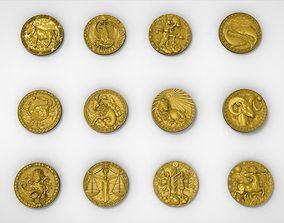 3D model of the twelve symbols of the zodiac