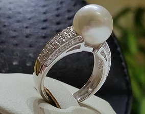 3D printable model Pearl Engagement Ring diamonds anello 2