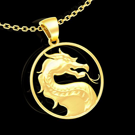 Mortal Combat Pendant jewelry Gold 3D print model