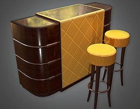 Bar Table and Stools Art Deco - DKO - PBR Game 3D model