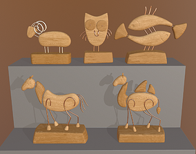 Wooden figurines collection 3D asset low-poly