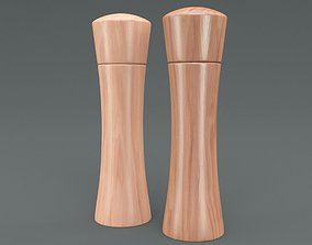 Wooden Salt and Pepper Mill 3D asset
