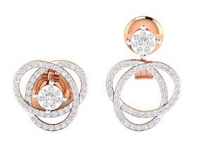 gold gem solitaire Women Earrings 3dm stl render detail