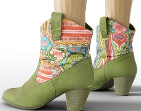 3D model Boot Green Flowers Decorated Women Footwear