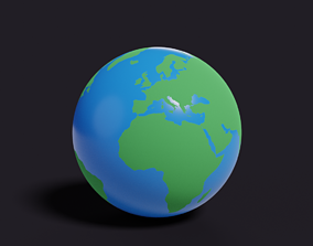 Low poly stylized earth 3D asset