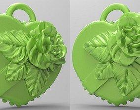 Rose on heart 3D print model