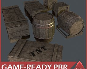 Western - Wooden Boxes and Barrels 3D model