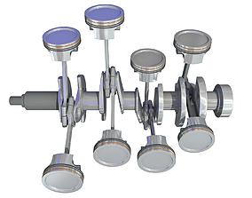 3D model Animated V8 Engine Cylinders