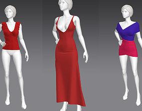 3D model set 5 in 1 Woman pose