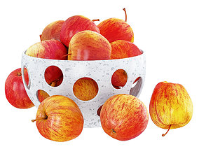 Red Apples in a Decorative Vase with Round Holes 3D model