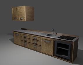 3D asset Kitchen Set Game Ready