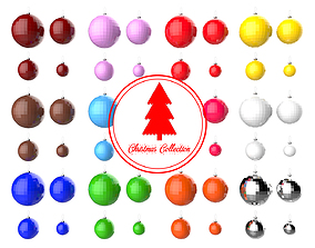 Christmas Tree Decoration Ball Collection 02 3D