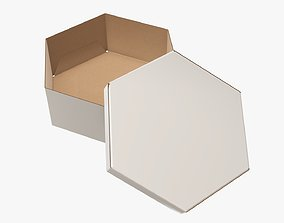 3D model Paper box hexagonal packaging open 02 cardboard